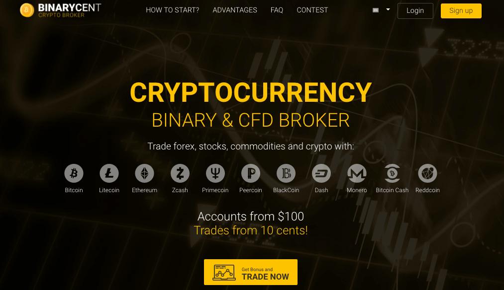 Binarycent landing page